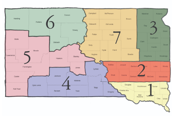 SDFU President | South Dakota Farmers Union - District map